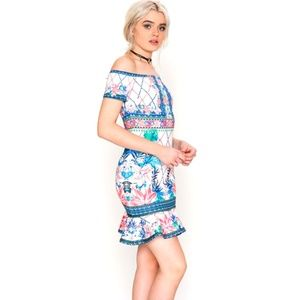 Sophisticated tropical print classy bodycon dress